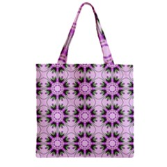 Pretty Pink Floral Purple Seamless Wallpaper Background Zipper Grocery Tote Bag