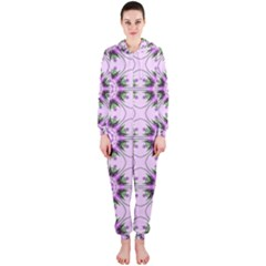 Pretty Pink Floral Purple Seamless Wallpaper Background Hooded Jumpsuit (ladies)