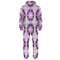 Pretty Pink Floral Purple Seamless Wallpaper Background Hooded Jumpsuit (men)