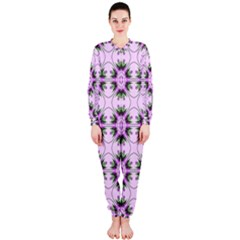 Pretty Pink Floral Purple Seamless Wallpaper Background Onepiece Jumpsuit (ladies)