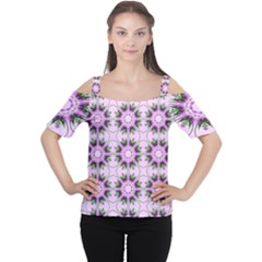 Pretty Pink Floral Purple Seamless Wallpaper Background Women s Cutout Shoulder Tee