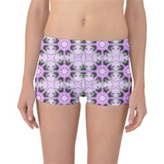 Pretty Pink Floral Purple Seamless Wallpaper Background Boyleg Bikini Bottoms