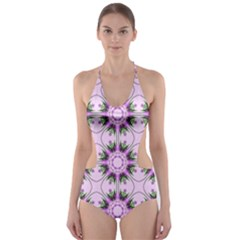 Pretty Pink Floral Purple Seamless Wallpaper Background Cut Out One Piece Swimsuit