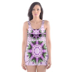 Pretty Pink Floral Purple Seamless Wallpaper Background Skater Dress Swimsuit