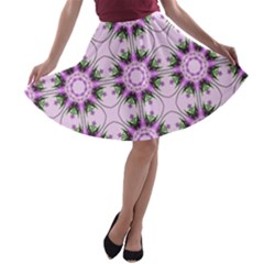 Pretty Pink Floral Purple Seamless Wallpaper Background A-line Skater Skirt