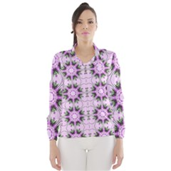 Pretty Pink Floral Purple Seamless Wallpaper Background Wind Breaker (women)