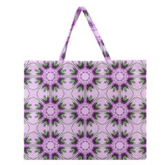 Pretty Pink Floral Purple Seamless Wallpaper Background Zipper Large Tote Bag