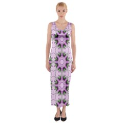 Pretty Pink Floral Purple Seamless Wallpaper Background Fitted Maxi Dress