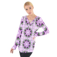 Pretty Pink Floral Purple Seamless Wallpaper Background Women s Tie Up Tee