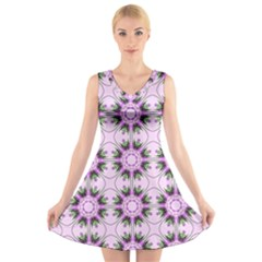 Pretty Pink Floral Purple Seamless Wallpaper Background V-Neck Sleeveless Skater Dress