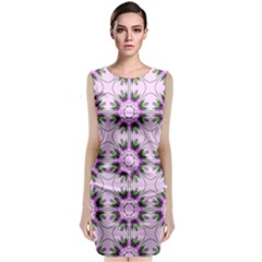 Pretty Pink Floral Purple Seamless Wallpaper Background Classic Sleeveless Midi Dress