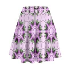 Pretty Pink Floral Purple Seamless Wallpaper Background High Waist Skirt
