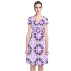 Pretty Pink Floral Purple Seamless Wallpaper Background Short Sleeve Front Wrap Dress