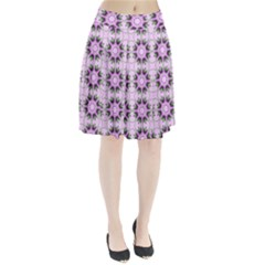 Pretty Pink Floral Purple Seamless Wallpaper Background Pleated Skirt
