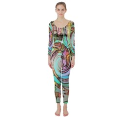 Art Pattern Long Sleeve Catsuit