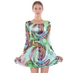 Art Pattern Long Sleeve Skater Dress
