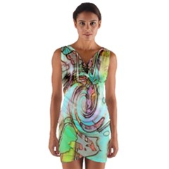 Art Pattern Wrap Front Bodycon Dress