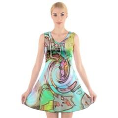 Art Pattern V Neck Sleeveless Skater Dress