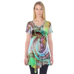 Art Pattern Short Sleeve Tunic