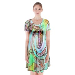 Art Pattern Short Sleeve V-neck Flare Dress