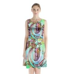 Art Pattern Sleeveless Chiffon Waist Tie Dress