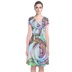 Art Pattern Short Sleeve Front Wrap Dress