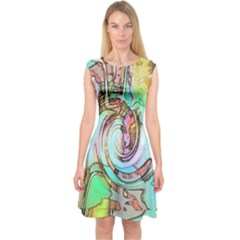 Art Pattern Capsleeve Midi Dress