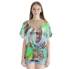 Art Pattern Flutter Sleeve Top