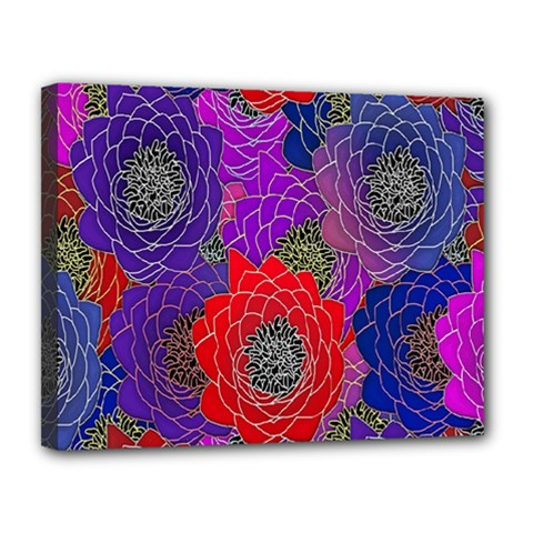 Colorful Background Of Multi Color Floral Pattern Canvas 14  x 11