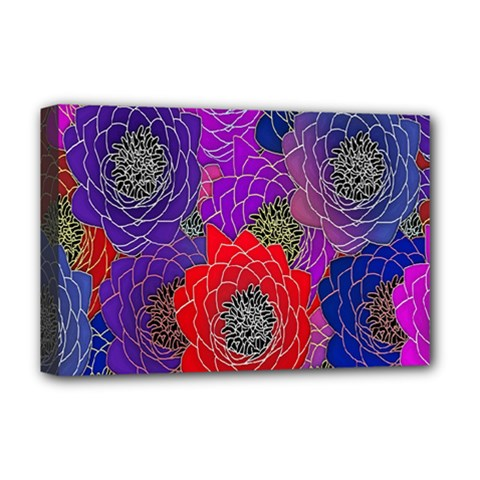 Colorful Background Of Multi Color Floral Pattern Deluxe Canvas 18  x 12