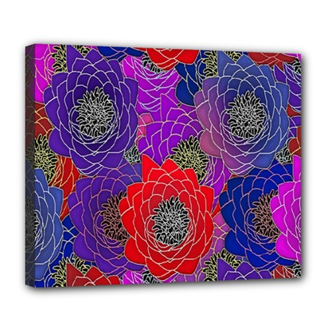 Colorful Background Of Multi Color Floral Pattern Deluxe Canvas 24  X 20