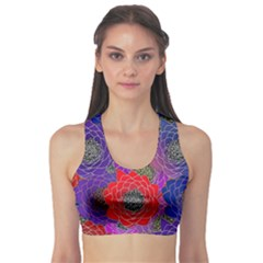Colorful Background Of Multi Color Floral Pattern Sports Bra