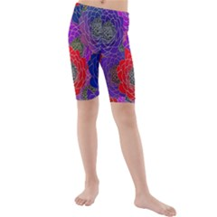 Colorful Background Of Multi Color Floral Pattern Kids  Mid Length Swim Shorts