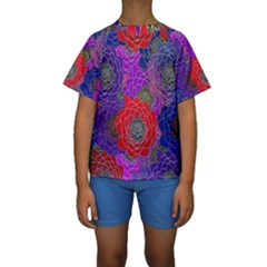 Colorful Background Of Multi Color Floral Pattern Kids  Short Sleeve Swimwear