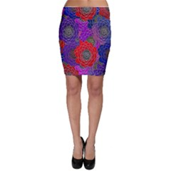 Colorful Background Of Multi Color Floral Pattern Bodycon Skirt