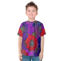 Colorful Background Of Multi Color Floral Pattern Kids  Cotton Tee