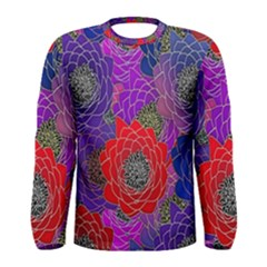Colorful Background Of Multi Color Floral Pattern Men s Long Sleeve Tee