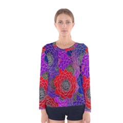 Colorful Background Of Multi Color Floral Pattern Women s Long Sleeve Tee