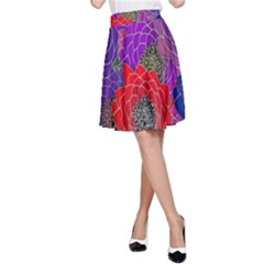 Colorful Background Of Multi Color Floral Pattern A Line Skirt