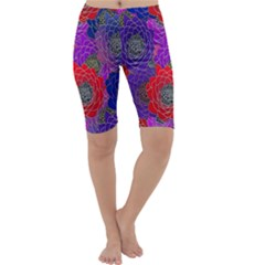 Colorful Background Of Multi Color Floral Pattern Cropped Leggings