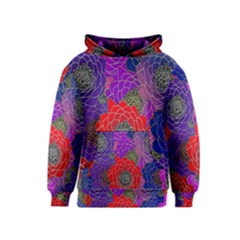 Colorful Background Of Multi Color Floral Pattern Kids  Pullover Hoodie