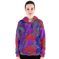 Colorful Background Of Multi Color Floral Pattern Women s Zipper Hoodie