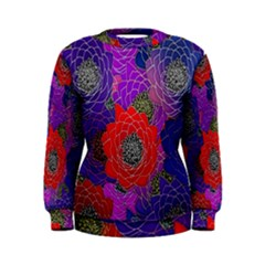 Colorful Background Of Multi Color Floral Pattern Women s Sweatshirt
