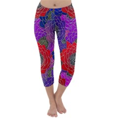 Colorful Background Of Multi Color Floral Pattern Capri Winter Leggings