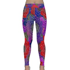 Colorful Background Of Multi Color Floral Pattern Classic Yoga Leggings