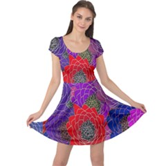 Colorful Background Of Multi Color Floral Pattern Cap Sleeve Dresses