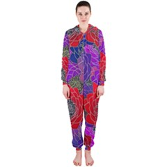 Colorful Background Of Multi Color Floral Pattern Hooded Jumpsuit (Ladies)