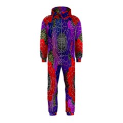 Colorful Background Of Multi Color Floral Pattern Hooded Jumpsuit (Kids)
