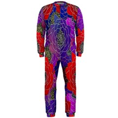 Colorful Background Of Multi Color Floral Pattern OnePiece Jumpsuit (Men)