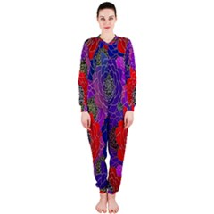 Colorful Background Of Multi Color Floral Pattern OnePiece Jumpsuit (Ladies)